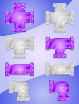 Pipes plumbing color zestaw cukierków fioletowy i szary