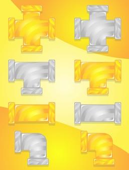 Pipes plumbing color żółty i szary zestaw ikon cukierki