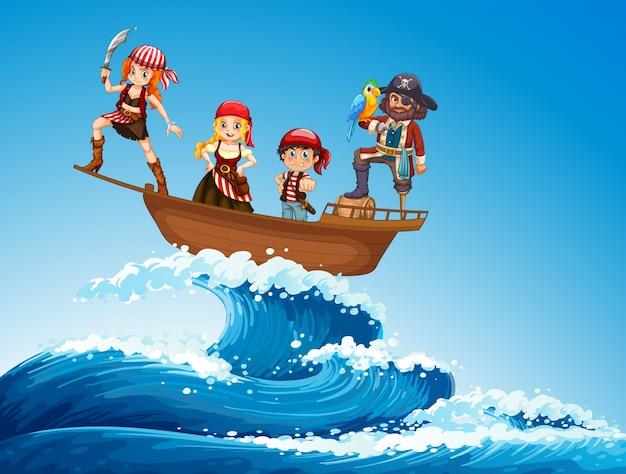 Piraci na statku na morzu