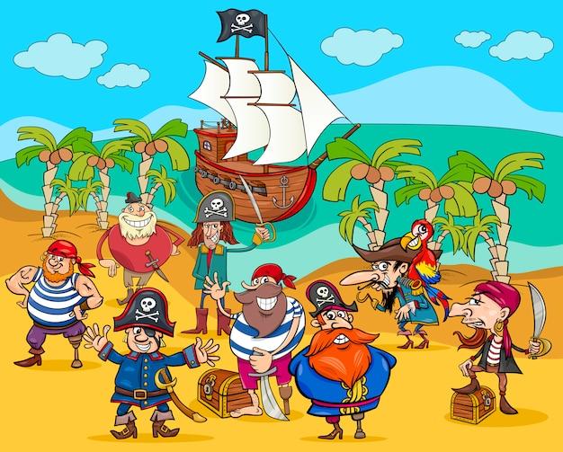 Piraci na wyspie skarb kreskówka