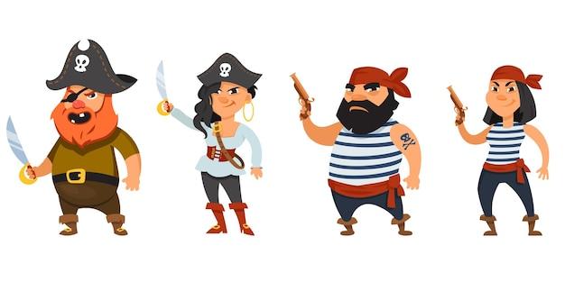 Piraci płci męskiej i żeńskiej trzymają broń. śmieszne postacie w stylu cartoon.