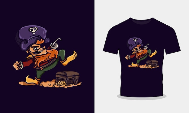 Piraci wchodzący na projekt koszulki ze skarbem
