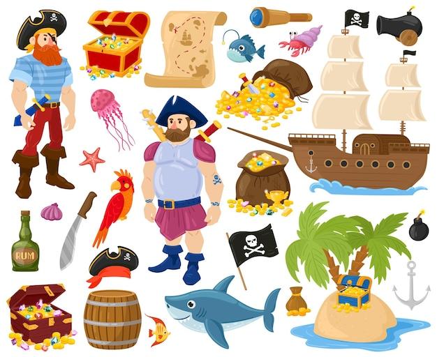 Piraci z kreskówek, ryby morskie, skrzynia skarbów, statek morski. pirat żeglarz znaków, złoty skarb statek i mapa wektor zestaw ilustracji. pirackie przygody oceaniczne. pirat marine, skrzynia ze skarbem