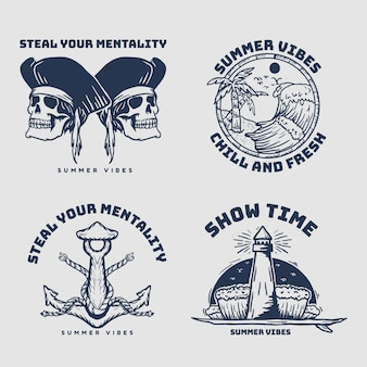 Piraci zestaw odznaka vintage retro