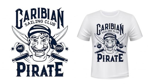 Piracka koszulka z nadrukiem żeglarskiego klubu sportowego