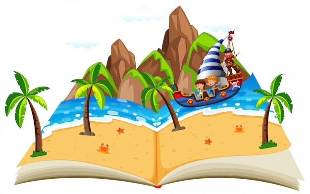 Piracka łódź z dziećmi pojawiają się książki