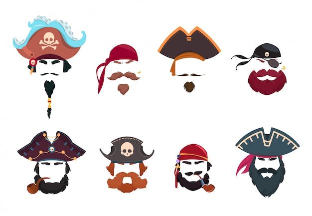Piracka maska. śmieszne filtry fotograficzne do twarzy. kapelusze piratów, chustka i fajka na białym tle wektor zestaw