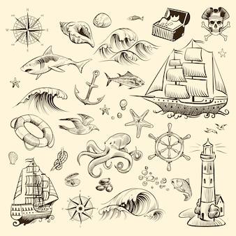 Piracka przygoda zestaw ilustracji