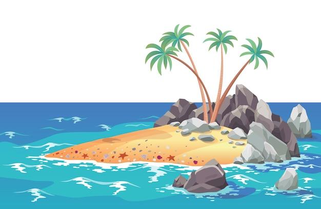 Piracka wyspa oceanu w stylu kreskówki. palmy na bezludnej morskiej wyspie. tropikalny krajobraz