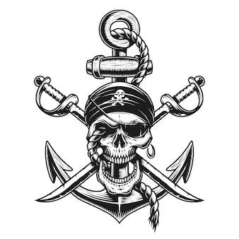 Piracki emblemat czaszki z mieczami, kotwicą