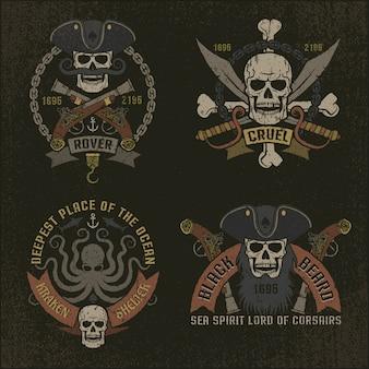 Piracki emblemat w stylu grunge