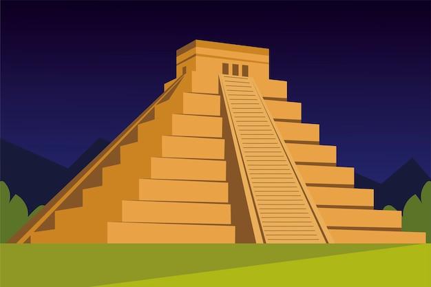 Piramida azteków tradycyjnej kultury w ilustracji projektowania krajobrazu