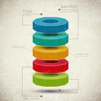 Piramida biznesowa składu wykresów z elementami w różnych kolorach, plansza.
