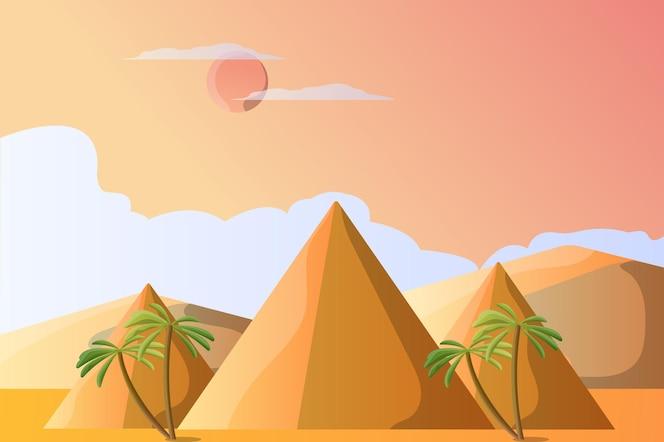 Piramida ilustracja krajobraz dla atrakcji turystycznej