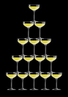 Piramida kieliszków do szampana na czarnym tle. ilustracja wektorowa. eps 10