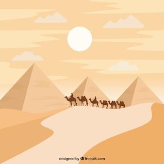 Piramida krajobraz z karawaną