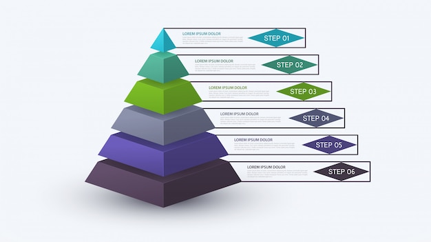 Piramida plansza o strukturze kroku. koncepcja biznesowa z 6 opcjami sztuk lub kroków. schemat blokowy, wykres informacyjny, baner prezentacji, obieg dokumentów.