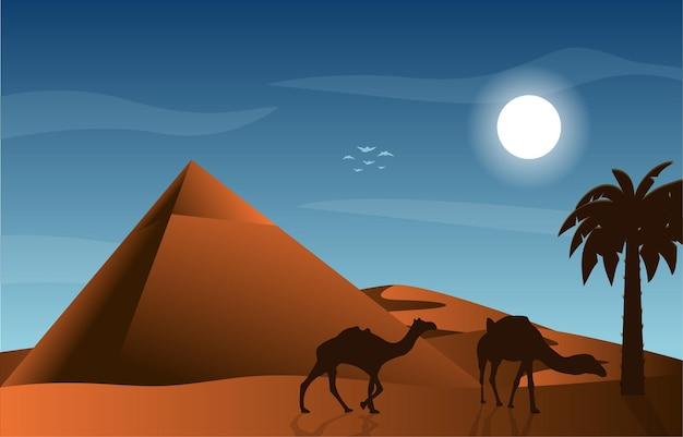 Piramida pustynia muzułmańska podróż wielbłąd ilustracja kultury islamskiej