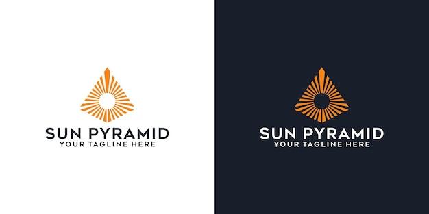 Piramida szczyt i słońce logo inspiracji szablon logo i projekt wizytówki