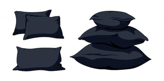 Piramida z czarną poduszką, płaski zestaw kreskówka. makieta miękkich ciemnych kwadratowych poduszek szablon poduszki do łóżka, sofa. pióro, bambusowa tkanina ekologiczna