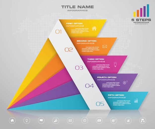 Piramida z wolną przestrzenią na tekst na każdym poziomie.