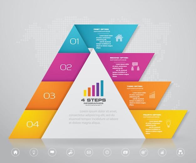 Piramida z wolnym miejscem na tekst na każdym poziomie.