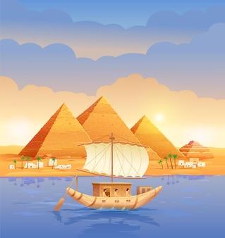 Piramidy egipskich piramid egipskich wieczorem nad rzeką. piramida cheopsa w kairze w gizie łódź płynąca obok ilustracji piramid