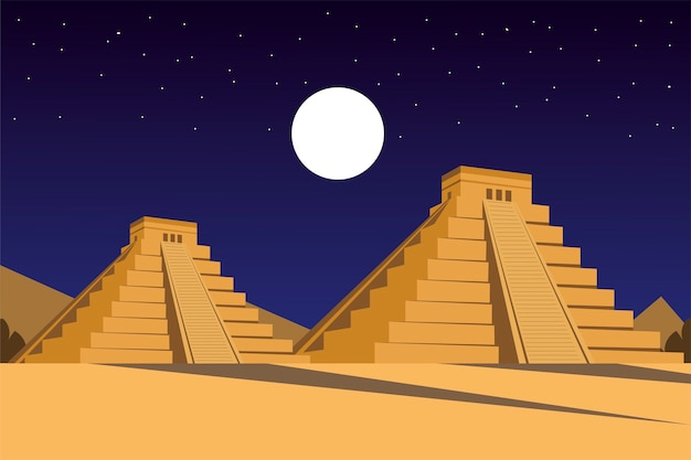 Piramidy meksykańskie starożytnej cywilizacji azteków w nocy panoramicznej ilustracji