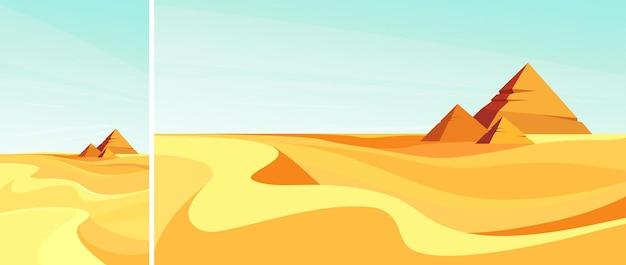 Piramidy na pustyni. zestaw krajobrazów w układzie pionowym i poziomym.
