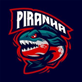 Piranha maskotka logo dla sportu i e-sportu na białym tle