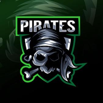 Pirat Czaszka Maskotka Logo Projekt E-sport Premium Wektorów