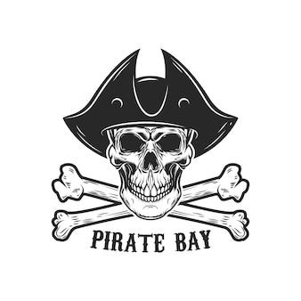 Pirat czaszka z ilustracją skrzyżowanymi piszczelami