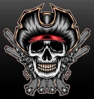 Pirat czaszki gangstera z pistoletem na czarnym tle