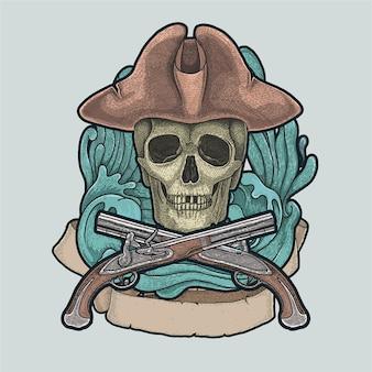 Pirat czaszki vintage ilustracji wektorowych