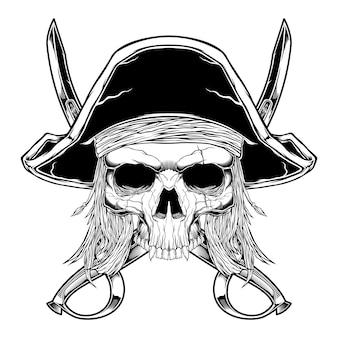 Pirat czaszki w stylu vintage na białym tle