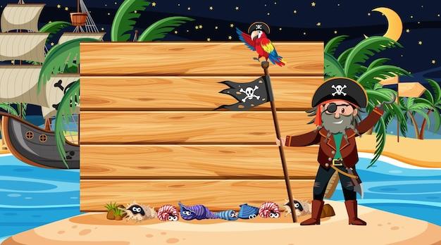 Pirat dzieci na nocnej scenie na plaży z pustym szablonem banera