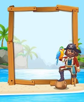 Pirat i papuga na plaży