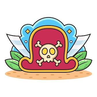 Pirat kapelusz i miecz kreskówka.