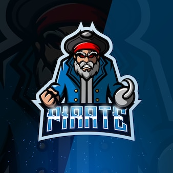 Pirat maskotka ilustracja esport