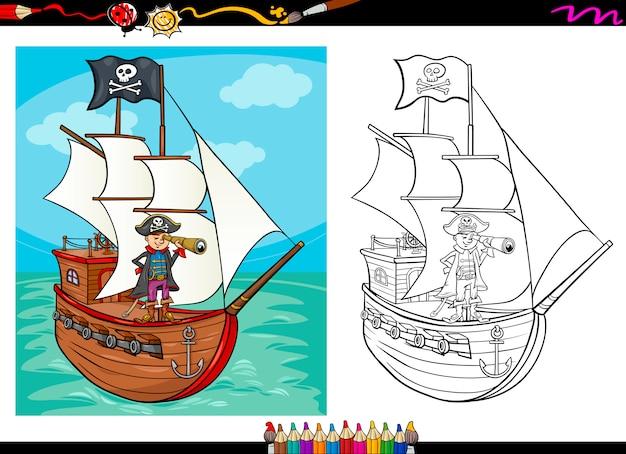 Pirat na statku kreskówka kolorowanka