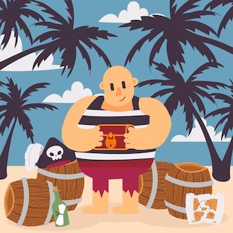 Pirat na tropikalnej wyspie, ilustracja. śmieszna postać z kreskówki pirata kapitan trzyma skrzynię skarbów. corsair na plaży z beczkami i palmami