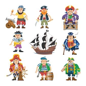 Pirat piracki charakter korsarz mężczyzna w stroju pirata w kapeluszu z mieczem ilustracja zestaw pirata marynarz osoba i statek lub żaglówka na białym tle