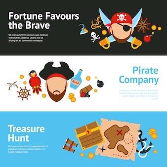 Pirat płaski zestaw banerów koncepcja