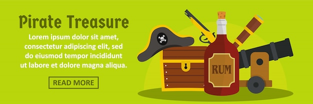 Pirat skarb szablon transparent poziome koncepcji