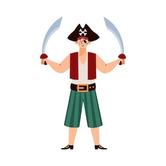 Pirat stojący trzymający dwa miecze kreskówka wektor ilustracja na białym tle