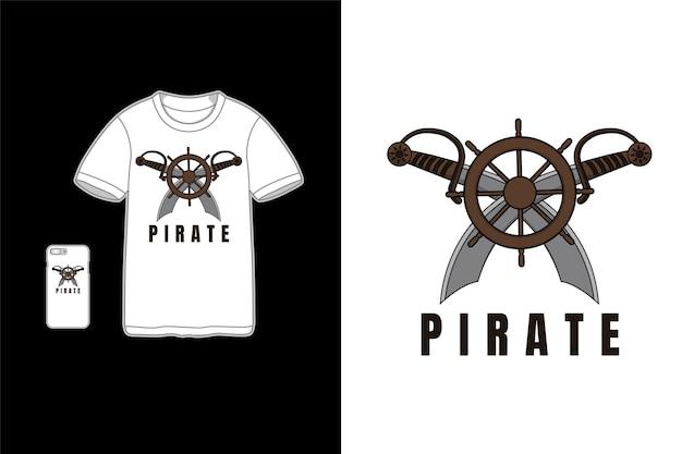 Pirat, t-shirt makieta kreskówka koło statku miecza