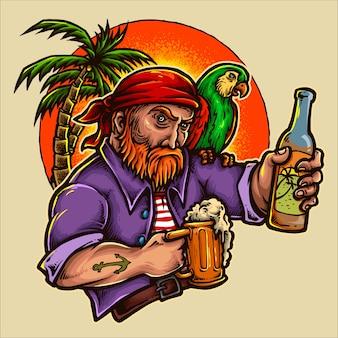Pirat trzyma piwo z zmierzchu tłem