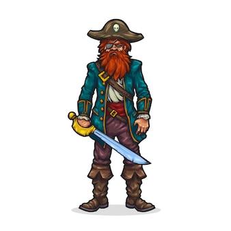 Pirat w stylu kreskówki