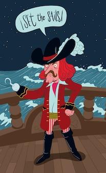 Pirat z hakiem rozkazujący ustawiać żagle