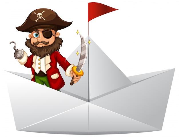 Pirat z mieczem stoi na łodzi papieru